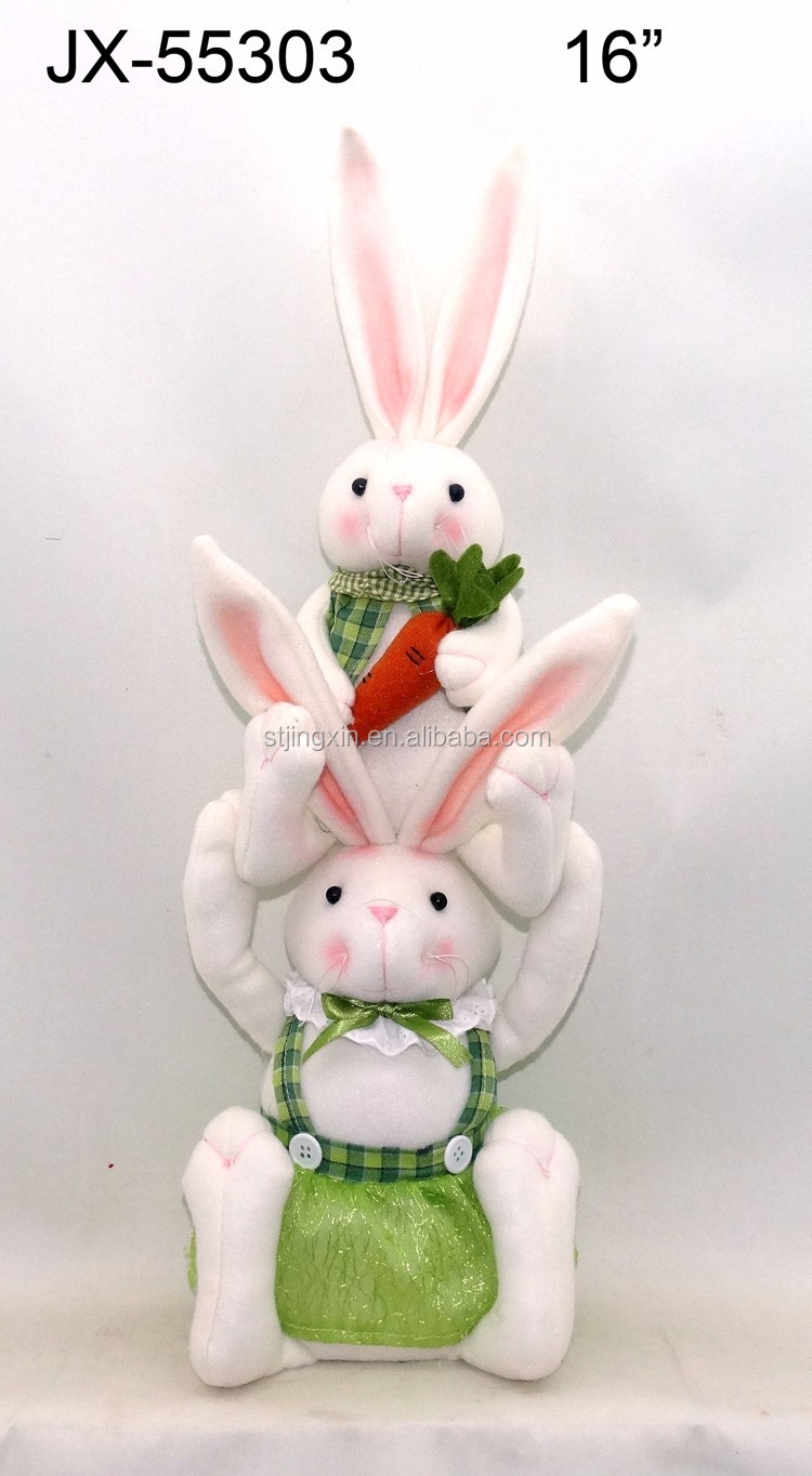 Populare wholesale Easter items brush white rabbit combination decoration