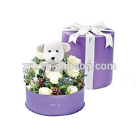 Round Paper Gift Packaging Boxes Flower
