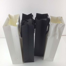 Blank Bottle Carry Cardboard Gift Paper Bag Black