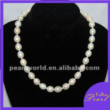 11-12mm AA big rice pearl necklace for ladies PN36