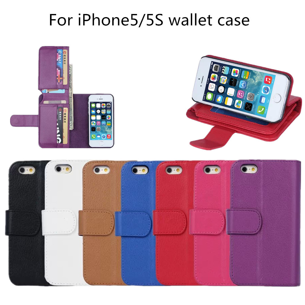 Wholesale wallet style for iphone5 light up mobile phone leather case for iPhone5S shen zhen factory welcome to order