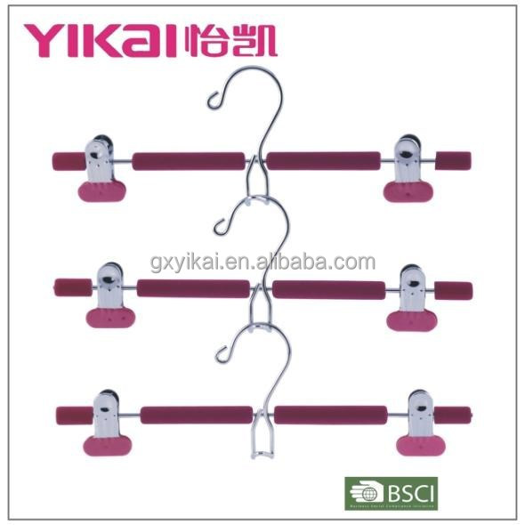 EVA foam coated padded metal skirt hangers with metal clips and a space saving hook