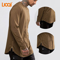 LuoQi Wholesale Men Top Quality 100% Cotton Curved Hem Tall Longline Side Zipper Long Sleeve T-shirt