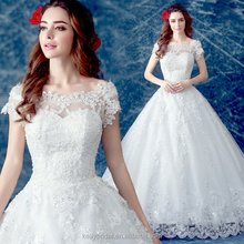 ZM 16109 fashion new french style wedding dress off-shoulder lace ball gown wedding dress