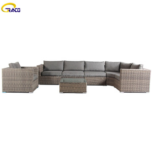 Hot sale plastic rattan outdoor patio garden sectional sofa set with round corner