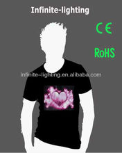 Sound controlled el animated flashing t-shirt/EL flashing t-shirt get rid of wire