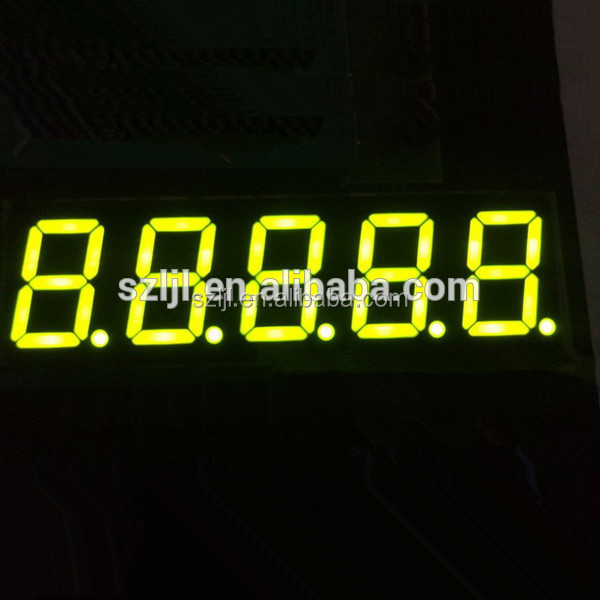2 Years warranty super clear 7 segment led display 5 digits yellow 0.36 inch