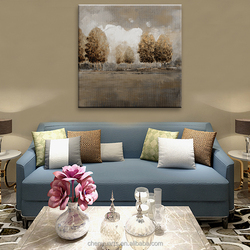 Neutral Colour Landscape Wall Art Handpainted Canvas Arts Featured Tree in Sunset