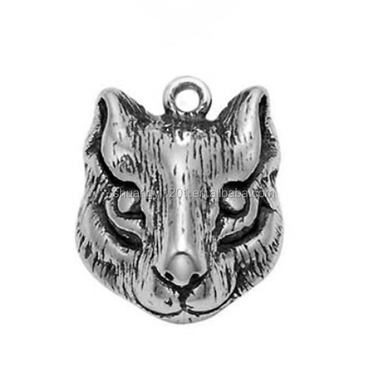 Antique silver plated alloy matel squirrel head animal pendant for jewelry making charms