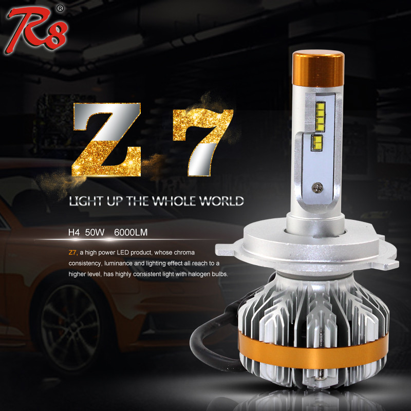 Intelligent canbus led auto lighting Z7 H4 led headlight philipse luxeon ZES 50W 6000LM 6000K automotive bulbs for Honda