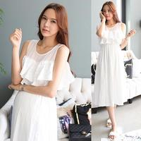 Korean style summer chiffon sleeveless superior elegant long maternity dress
