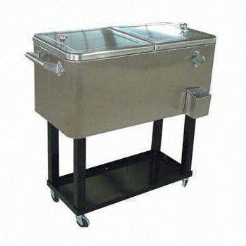 Stainless Steel Patio Ice Cooler/Beverage Cart with 76L Volume