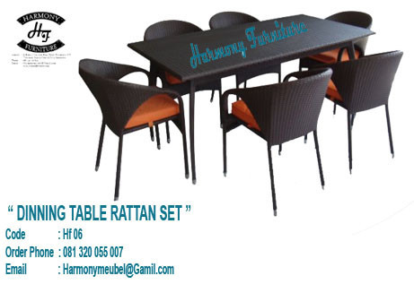 rattan set dinning table