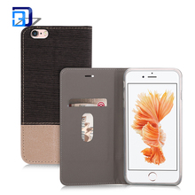Stripes cloth tpu+leather Flip mobile phone caes for iphone 6 stitching cover