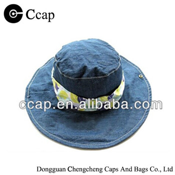 new trend blue demin bucket hat decorated with lovely printed band on the crown