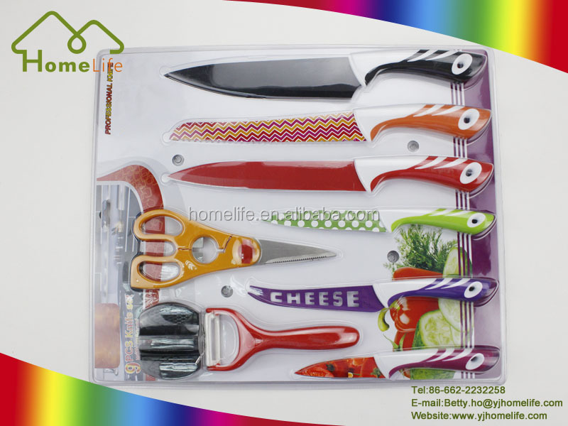 Sharpness strength, high hardness, stainless steel colorful painting kitchen knife set