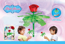 Unique inductive rose flower battery operated Hand Sensor remote control three seconds to start flying toy with light for kids