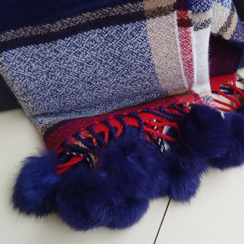 Cashmere scarf with lovely rabbit fur ball lady winter fur ball scarf