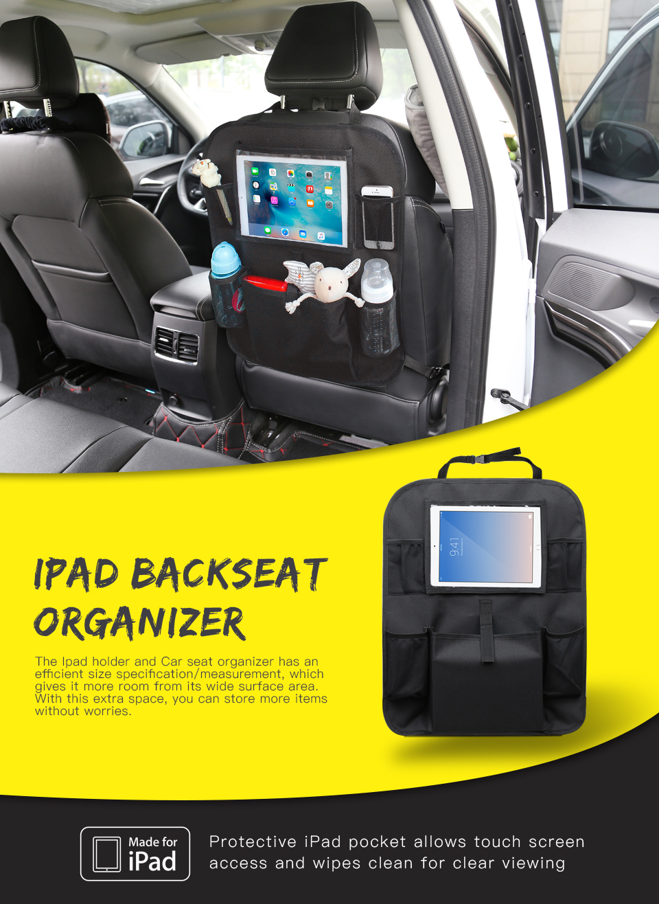Multi-function Car Back Seat Organizer for kids  iPad Holder with Pockets