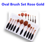 Best Selling Rose Gold Oval Makeup Brush Set 10, Oval Makeup Brush Set with Box