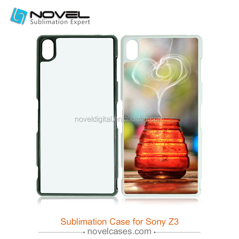 New plastic blamk Sublimation cell phone covers for sony Xperia Z3 L55T/<strong>U</strong>, with metal sheet