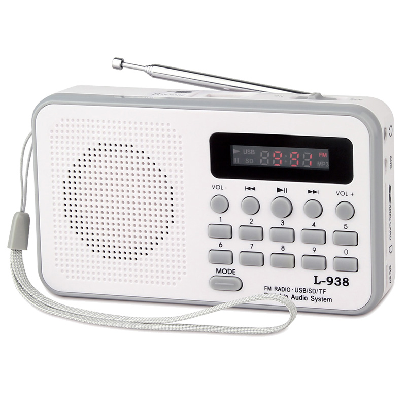 guangdong hot sale cheap white portable usb TF card mp3 player speaker FM radio speakers box