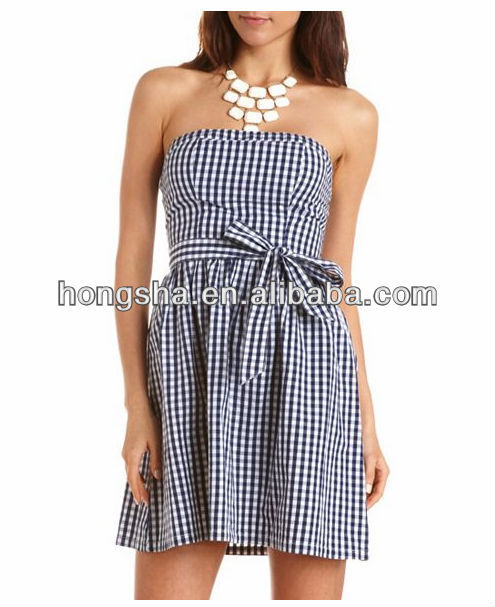 Summer fashion check print dress for women HGS1246