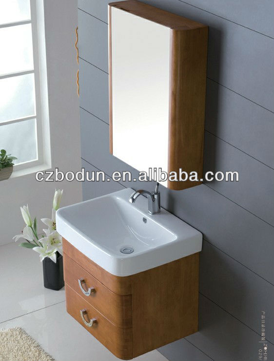 luxurious wall hung oak wood bathroom furniture vanity set