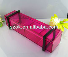 New design pink acrylic food storage box with dividers