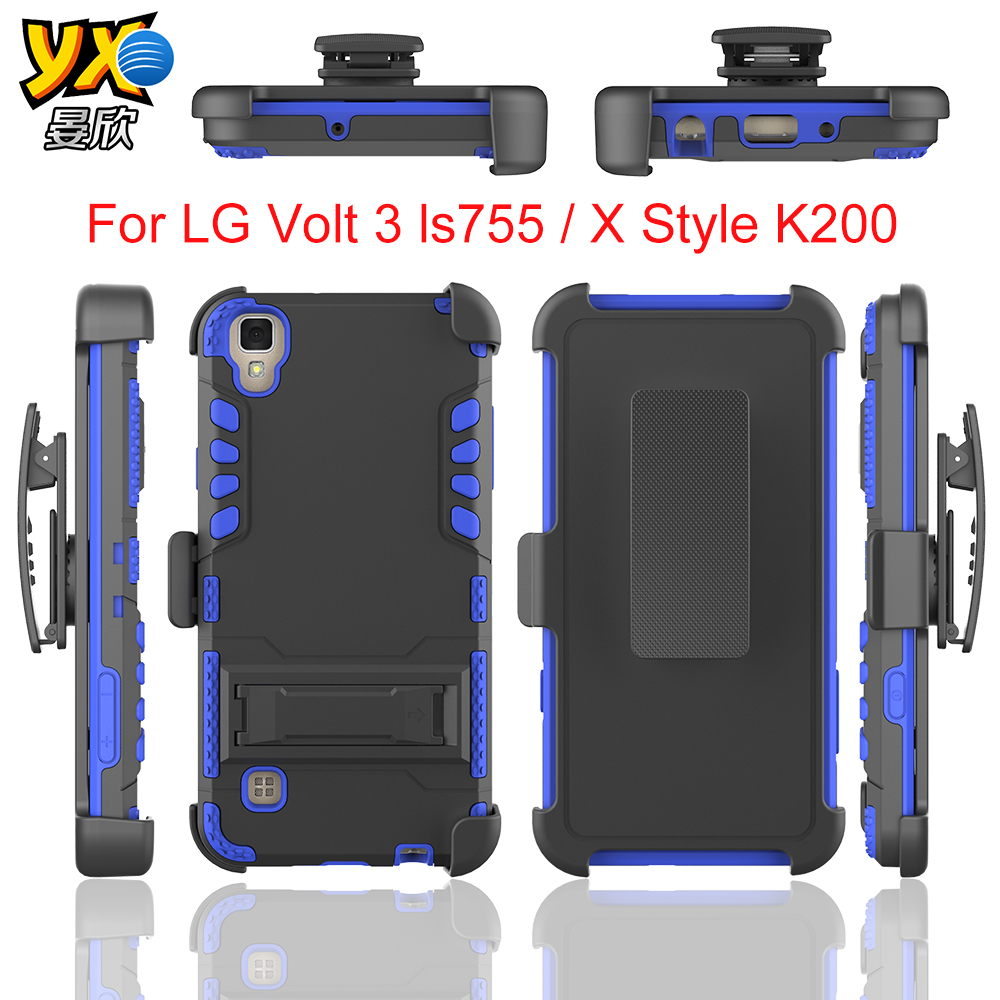 New Factory Product 3 in1 iVi Super Combo clip Case with clip with kickstand For LG X Style K200 / Tribute HD LS676