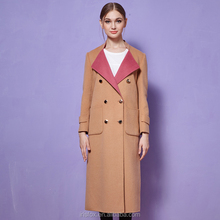 Irisfox F003 2015 CLASSIC double-breasted coat Wool Long Women coat round neck Winter Coats camel