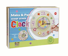 Designing painting wooden clock DIY wooden toy for kids