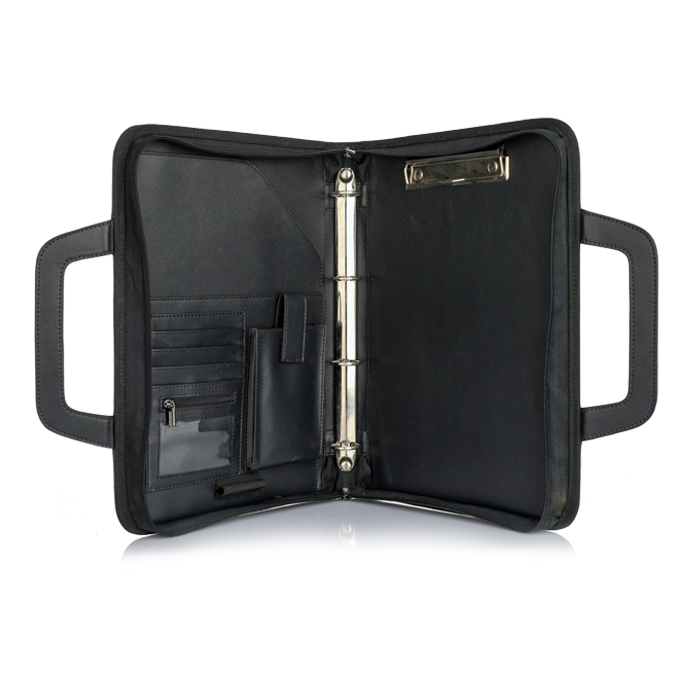 A4 Size Fireproof Waterproof Portfolio Handle File Folder 4 Ring Binder Document Holder Bag  With Clips