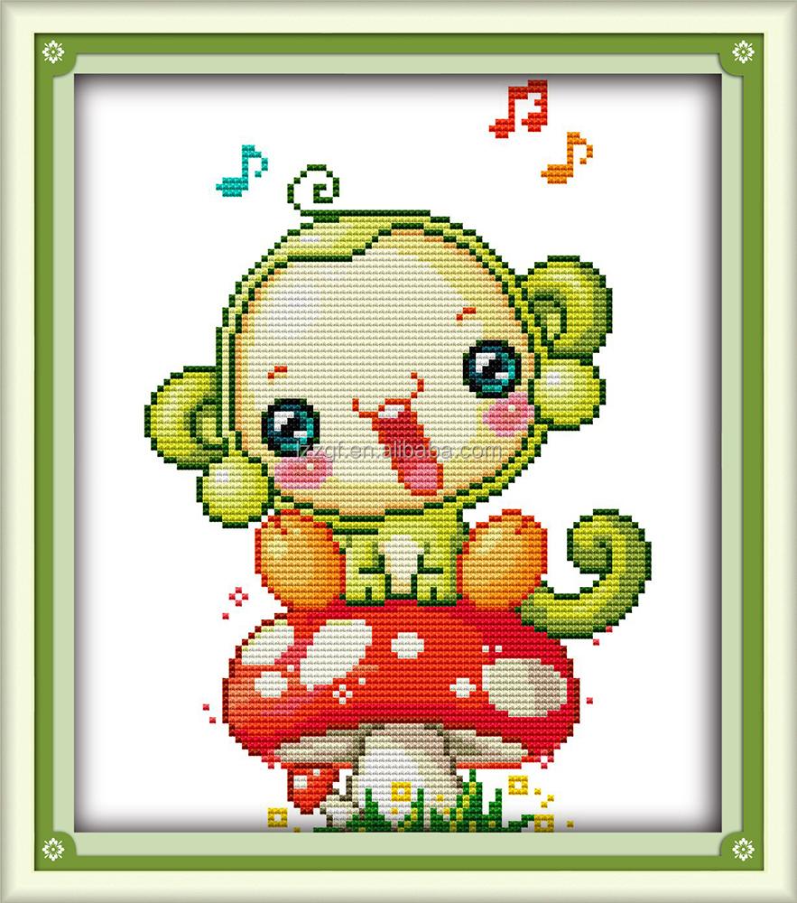The little <strong>monkey</strong> is on the mushrooms <strong>embroidery</strong> grid design free printable cross stitch patterns for kids C509