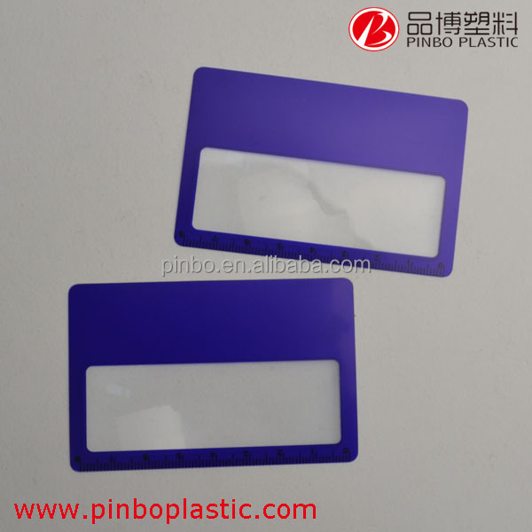Custom 3X plastic mobile phone magnifier/plastic magnifying glasses,credit card size magnifier with easy to take