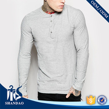 China Shandao wholesale blank gray plain dyed men 100% cotton 180g round neck button slim fit bulk long sleeve t shirts