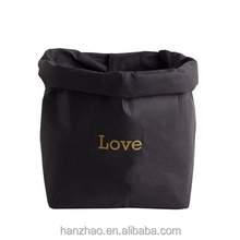 Customized Print Environment Friendly Black Washable Kraft Paper Storage Bag for Fruit Vegetable