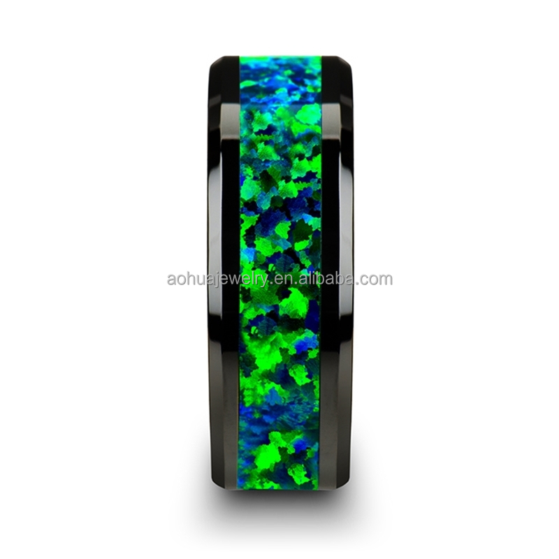 Fashion opal jewelry ring, black ceramic wedding band with Emerald Green & Sapphire Blue Color Opal Inlay, Green ceramic ring