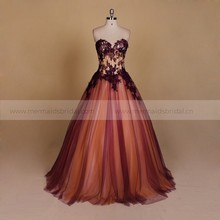 Transparent patterns of lace birthday party dress evening party dress