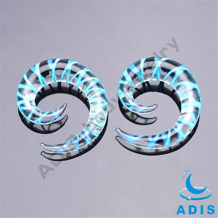 Unique Glass Ear Tunnel Piercing Expander Jewelry Wholesale Ear Gauge Spirals