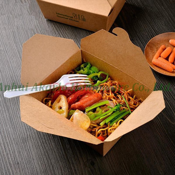 fast food take away brown kraft paper lunch box