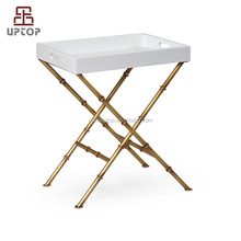 Living Room Furniture meta leg brass side solid wood square cafe tea wood table