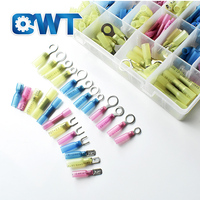 QWT 270pcs marine heat shrink butt wire Connectors kit,electrical heat shrink ring wire terminal kit,wire connector set