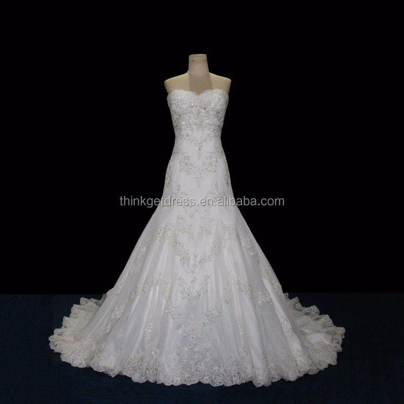Hand Knit Sweetheart Neckline Traditional Lace Mermaid Wedding Dress