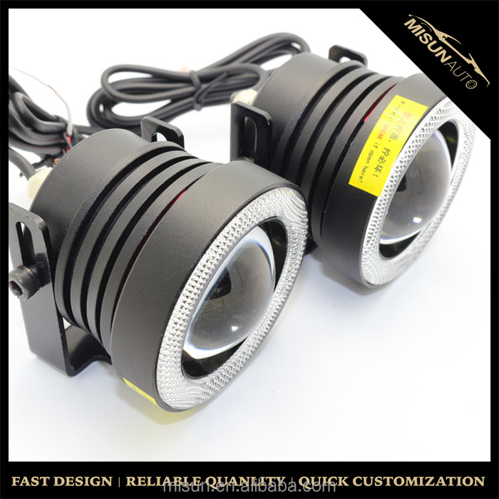 "15W High Power 2.5"" Projector LED Fog Lights with COB LED Halo Angel Eyes Rings For Car SUV Truck"