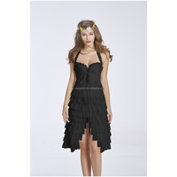 Women Victorian Gothic Lace Wedding Evening Corset Tops With Multi Layered Skirt Corset Dress