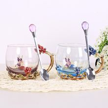 Factory directly selling Double-wall Flower Pattern Glass Beer Cup Milk Mug Tea Coffee Cup