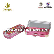 two layers rectangle hinged pencil tin boxes