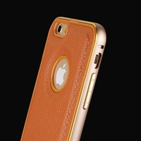 For iPhone 5 case, Aluminum Metal Bumper +Genuine leather back cover case,case for iphone5
