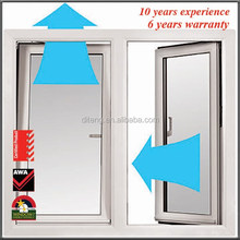 Turn & Tilt Window Single Tempered Glass Thermal Break Casement Turn Windows China UPVC or Aluminum Tilt Windows Screen